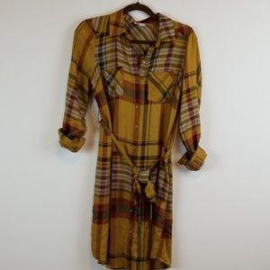 Motherhood Maternity plaid button down shirt dress